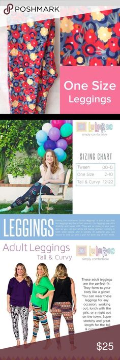 """Brand new Lularoe os leggings floral Having the nickname """"butter leggings"""" is just a sign that our leggings are the softest around. Our leggings are ultra stretchy and super soft. They are as close to your own skin as you can get while still being clothed. Coming in both solid colors and a variety of patterns you are bound to end up with a pair for each day of the week. LuLaRoe Pants Leggings"""