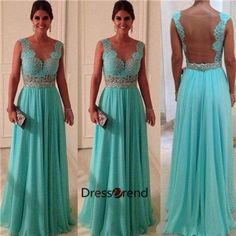 Long Green Lace Prom Dress - Open Back Prom Dresses / Green Evening Dress / Green Party Dress on Etsy, $199.00