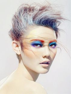 Inject some color into your life with rainbow bright make up because why not? women beauty and make up Make Up Looks, Makeup Art, Eye Makeup, Hair Makeup, Runway Makeup, Rock Makeup, Crazy Makeup, Makeup Style, Foto Flash