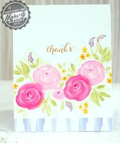 Soft Thanks Card by Betsy Veldman for Papertrey Ink (June 2014)