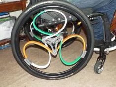 New loop wheels - In Green, White and Orange, ready for the Wheelchair Rugby League 4 Nations championship at the end of September!