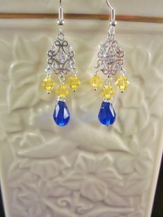 Fancy Crystal Dangle Earrings, Sapphire Blue and Yellow,  Bridal, Wedding, Bridesmaid, Formal, Prom,SRAJD