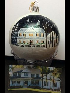 Custom Painted House Christmas Ornament  Hand painted by Artist Cyndie Wade  Perfect for First Home Realtor Closing Gift Painted Family Memories  Choose from SUMMER FALL or WINTER includes message on the back  Presented in holiday gift box, with hanger and gift tag!  We ship worldwide Www.cyndiewade.com