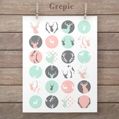 Circle collage: 1.5 inch PINK MINT DEERS circles patterns for pendants, bottle caps, paper craft, tribal collage sheet, tribal circles #clipart #texture