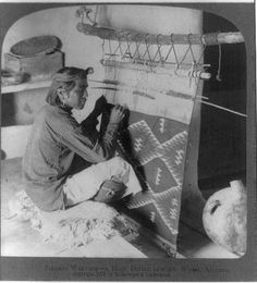 Rug weaving by a Hopi Indian