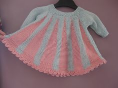 Ravelry: Maddie's Tiny Dress pattern by Jane Terzza Knitting For Kids, Baby Knitting Patterns, Baby Patterns, Knit Baby Dress, Baby Doll Clothes, Vest Pattern, Little Girl Dresses, Baby Dresses, Ravelry