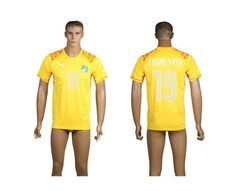 AAA+ Thailand 2014 Brazil World Cup Cote d'Ivoire 19 TOURE YAYA Home Yellow Soccer Jersey prices USD $19.50 #cheapjerseys #sportsjerseys #popular jerseys #NFL #MLB #NBA