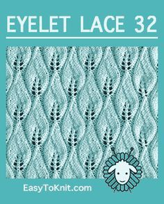 Candle Flame stitch, Easy Eyelet Lace Pattern - Knit and Crochet Lace Knitting Patterns, Knitting Stiches, Lace Patterns, Loom Knitting, Knitting Socks, Stitch Patterns, Knit Stitches, Knitting Machine, Easy Knitting