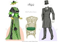 Maud & Hubert, 1892, Day Wear:  A fashionable couple of the 1890s paper dolls by Margaret Fleming | Gabi's Paper Dolls