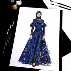 Most Popular Wedding Dress Drawing Sketches Gowns Ideas 1940s Fashion Dresses, African Fashion Dresses, Hijab Fashion, Fashion Art, Trendy Fashion, Dress Design Sketches, Fashion Design Drawings, Fashion Sketches, Drawing Fashion