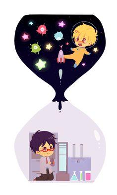Ska&Hug's Artwork ... Free! - Iwatobi Swim Club, free!, iwatobi, rei ryugazaki, rei, ryugazaki, nagisa hazuki, hazuki, nagisa, scientist, alien, astronaut
