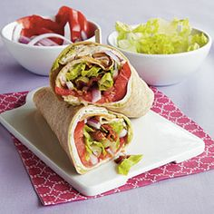 Turkey Club Wraps | MyRecipes.com #MyPlate #protein #grain #vegetable