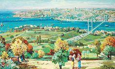 Ibrahim Safi , (turkish painter) 1898 - 1983 - istanbul overview