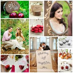"Snow White Wedding Inspiration Board. Love the ""and they lived happily ever after"" picture"