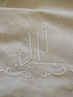 Lovely French Linen Sheet with Embroidered Monogram. $125.00, via Etsy.