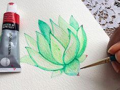 Watercolor succulent tutorial - Part 2 - Life-athon Succulents Drawing, Watercolor Succulents, Watercolor Cactus, Easy Watercolor, Watercolour Drawings, Watercolor Projects, Watercolour Tutorials, Watercolor Paintings, Flower Drawing Tutorials