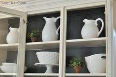 kitchen inside cabinet paint ideas - I'm wondering if a dark paint inside white cabinets will make a tiny kitchen look bigger.
