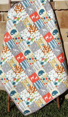 Deer Quilt, Elk Woodland Rustic Nursery Blanket