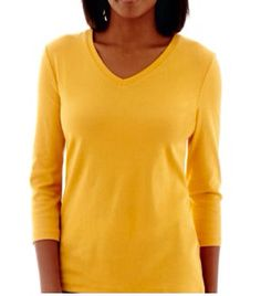 In Closet - St Johns Bay v-neck, 3/4 sleeve in mustard (Amber sun) yellow