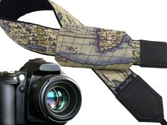 Vintage camera strap with pocket. Poket camera strap. Old map. Gift for her, for him. Beige camera accessory for every budget by InTePro