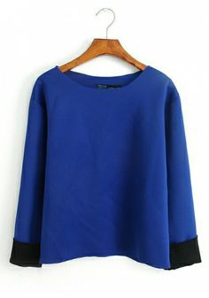 Bule Round Neck Long Sleeve Plain Tops