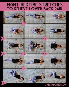 8 bedtime stretches for back pain More ideas from www.pinterest.com/inspireandmake #SevereBackPain