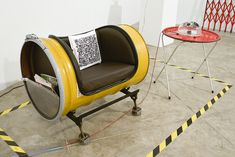 industrial Spool Chair | 55, Lounge chair and side table (set) with QR pillow. Upcycled ...
