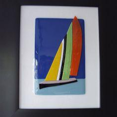 Sail boat. Glass fusion. 'sailing'. Art  work from A.dalla.Costa