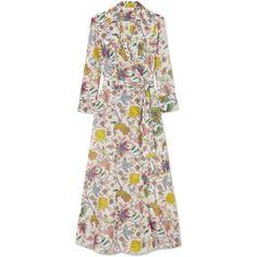Diane von Furstenberg Printed cotton and silk-blend wrap midi dress (18.275 RUB) via Polyvore featuring dresses, tie dress, midi dress, multi coloured midi dress, midi day dresses и multi coloured dress