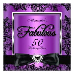 Fabulous 50 Party Purple Damask Black Lace 13 Cm X 13 Cm Square Invitation Card