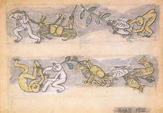 Fish, Crab, and Children / Lee Jung-seob(Korean, 이중섭, 1916 - 1956),