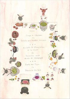"postcard ""menu"" from ""LINNET"",Japanese design cotton fabrics."