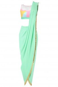 Mint Green Predraped Dhoti Saree with Colorblock Blouse