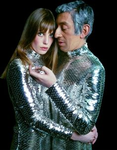 Jane Birkin and Serge Gainsbourg wearing outfits designed by Paco Rabanne during the 70's.