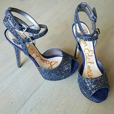 NIB Sam Edelman heels Navy blue glittered heels. Beautiful for that next special event! Has  double ankle straps and platform in the front, style is Nadine. Sam Edelman Shoes Heels