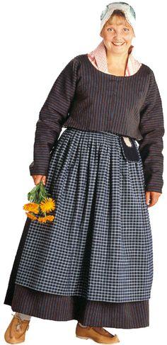 Viitasaaren naisen kansallispuku. Kuva © Suomen käsityön museo Folk Costume, Costumes, Mori Fashion, Home Sew, Different Patterns, Traditional Dresses, Midi Skirt, Folklore, Skirts