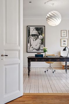 Antique desk, white floors, and Audrey. Home office. Home Office Space, Office Workspace, Home Office Design, Home Office Decor, House Design, Home Decor, Office Ideas, Office Spaces, Office Designs