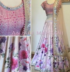 Blushed Blossoms- customise printed lehenga with gold gotha accents and geometrical embroidered blouse Indian Attire, Indian Wear, Indian Style, Pakistani Outfits, Indian Outfits, Ethnic Fashion, Asian Fashion, Patiala Salwar, Anarkali