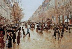 """""""Boulevard Poissonniere bei Regen"""" (ca.1885) von Jean Beraud (geboren am 12. Januar 1849 in Sankt Petersburg, gestorben am 4. Oktober 1935 in Paris), französischer Maler und Graphiker."""