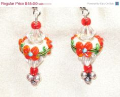 on sale Dangle earrings white and red floral big beads with crystals goes with Pandora bracelets epsteam