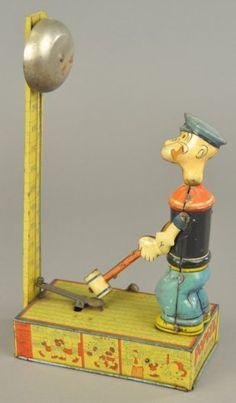 Chein Popeye Heavy Hitter Tin Wind-up Toy