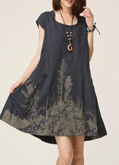 Printed cotton dress,Linen /cotton dress dress gown leisure loose cotton/linen dress linen coat big yards dress plus size dress. 003 on Etsy, $53.99