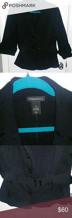 Lane Bryant black blazer Lane Bryant  size 18 New without tags Stretchy belted jacket  Button detail on front sleeves  one on the back   Perfect blazer for work! Plus size fashion Lane Bryant Jackets & Coats Blazers