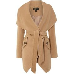 Lipsy Kardashian Kollection luxury tie waist coat (€92) ❤ liked on Polyvore featuring outerwear, coats, jackets, coats & jackets, casacos, camel, clearance, beige coat, camel coat and long sleeve coat