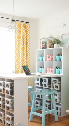 How to Organize a Craft Room Work Space | The Happy Housie #craftroom #organization