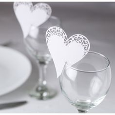 write as name cards Contemporary Heart White Glass Place Card - Place Cards & Holders - Wedding Stationery - Wedding Wedding Name Cards, Wedding Table Names, Wedding Favours, Wedding Stationery, Wedding Invitations Elegantes, Ideas Vintage, Vintage Lace, Heart Place, 1 Place