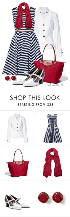 """""""Red, White & Blue"""" by ailunsford ❤ liked on Polyvore featuring Steffen Schraut, Vila Milano, Longchamp, Faliero Sarti, Marni and White House Black Market"""