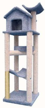 """Treehouse Cat Gym - 78 inches : Optional Sisal 2 FEET OF SISAL : Parts & Base Color TAN : Poles Color GREY. The Treehouse is perfect at a whopping 78inches tall!  There's plenty of climbing and lounging room, plus a nice hideway on top.The 24""""x24"""" base takes up only four square feet of floor space.Staggered tiers and platforms allow for easy climbing.  Plenty of room for your whole family of cats!The finest materials available are used to make this the safest possible haven for your kitty…"""
