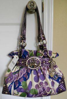 83827432e07f Women s Designer Kathy Van Zeeland Crown Princess Nappa Belt Shopper in  Purple!