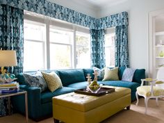 Love the bold teals and mustards!
